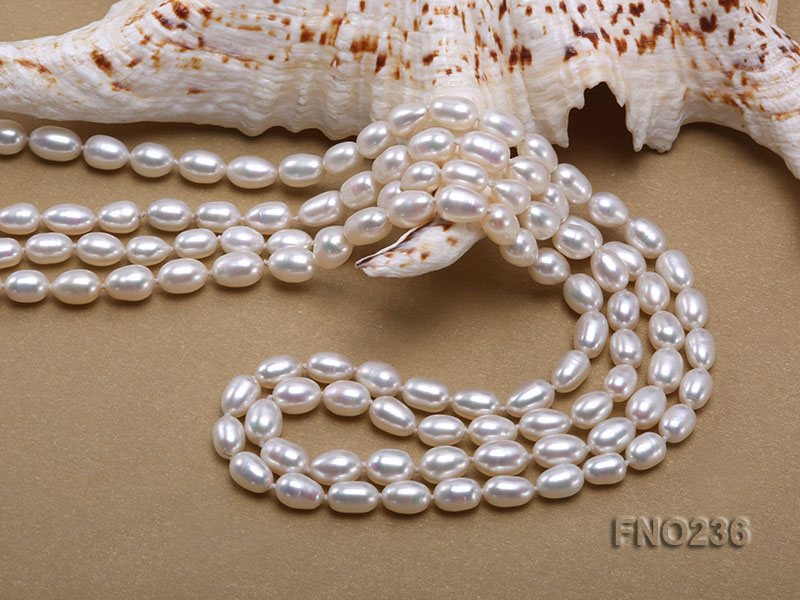 7-8mm white oval freshwater pearl necklace big Image 5