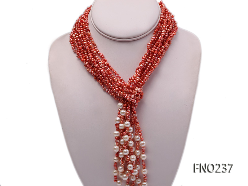 4-5mm red flat freshwater pearl five-strand necklace big Image 1
