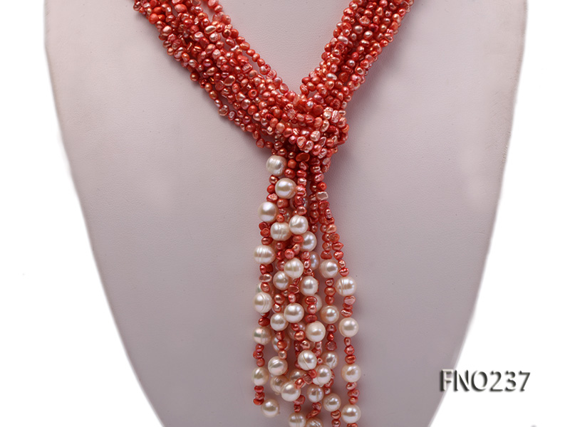4-5mm red flat freshwater pearl five-strand necklace big Image 2