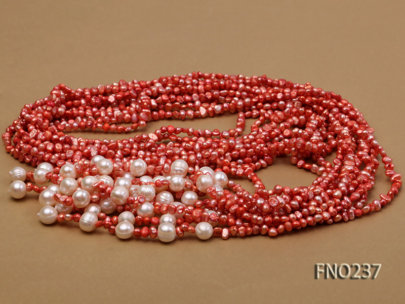 4-5mm red flat freshwater pearl five-strand necklace big Image 3
