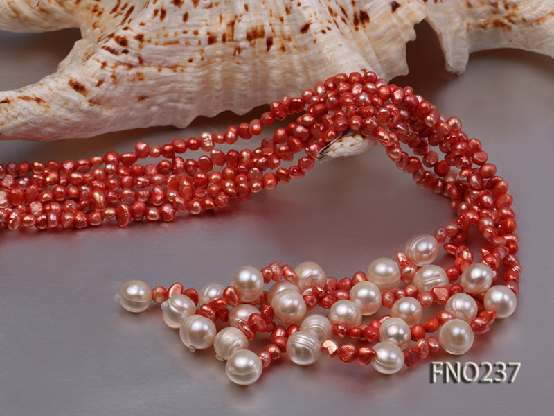 4-5mm red flat freshwater pearl five-strand necklace big Image 5
