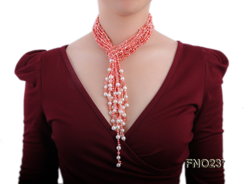 4-5mm red flat freshwater pearl five-strand necklace big Image 6
