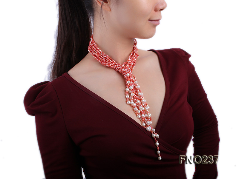 4-5mm red flat freshwater pearl five-strand necklace big Image 7