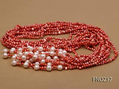 4-5mm red flat freshwater pearl five-strand necklace FNO237 Image 3