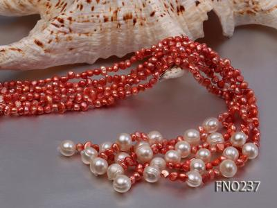 4-5mm red flat freshwater pearl five-strand necklace FNO237 Image 5