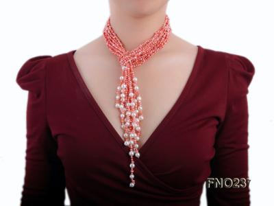 4-5mm red flat freshwater pearl five-strand necklace FNO237 Image 6