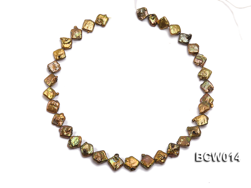 Wholesale 10-12mm Coffee Irregular Cultured Freshwater Pearl String big Image 3