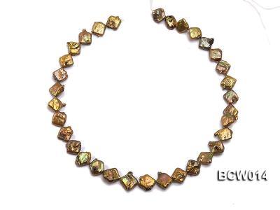 Wholesale 10-12mm Coffee Irregular Cultured Freshwater Pearl String BCW014 Image 3