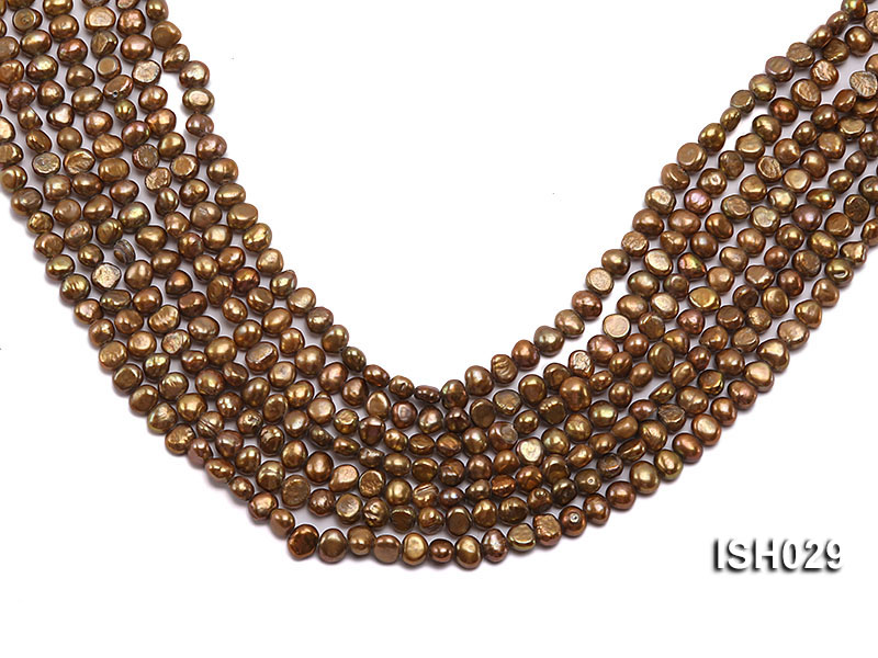 Wholesale Super-size 4x6mm Coffee Flat  Freshwater Pearl String big Image 1