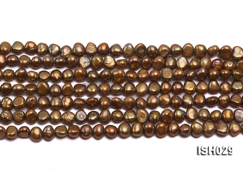Wholesale Super-size 4x6mm Coffee Flat  Freshwater Pearl String big Image 2