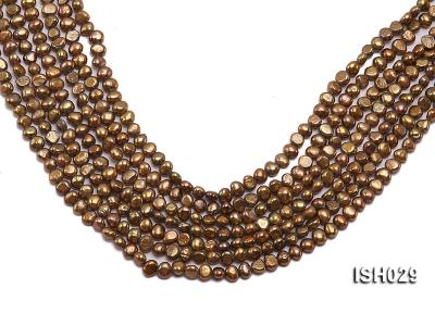 Wholesale Super-size 4x6mm Coffee Flat  Freshwater Pearl String ISH029 Image 1
