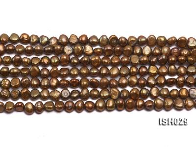 Wholesale Super-size 4x6mm Coffee Flat  Freshwater Pearl String ISH029 Image 2