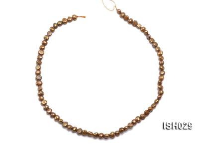 Wholesale Super-size 4x6mm Coffee Flat  Freshwater Pearl String ISH029 Image 3