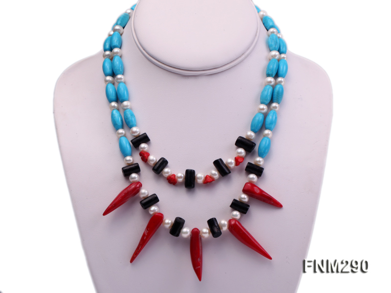 2 strand white freshwater pearl,turquoise and coral necklace big Image 1