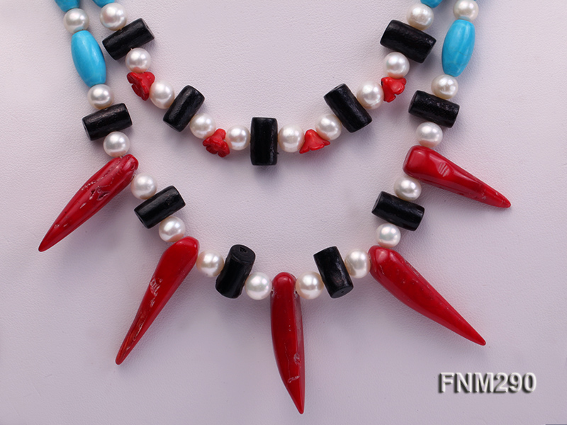 2 strand white freshwater pearl,turquoise and coral necklace big Image 2