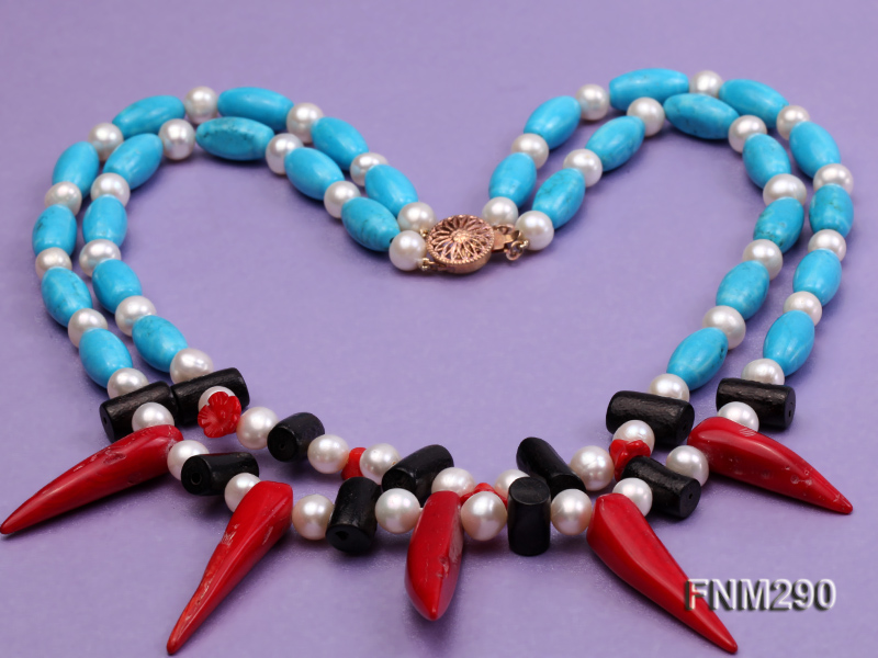 2 strand white freshwater pearl,turquoise and coral necklace big Image 3