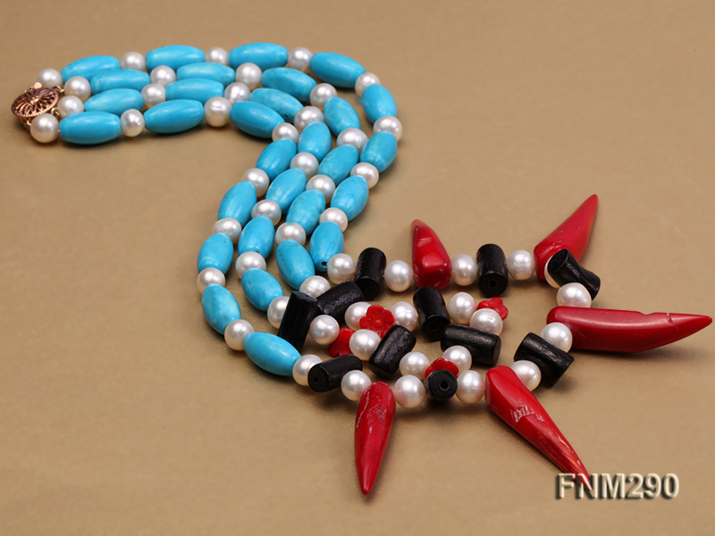 2 strand white freshwater pearl,turquoise and coral necklace big Image 4