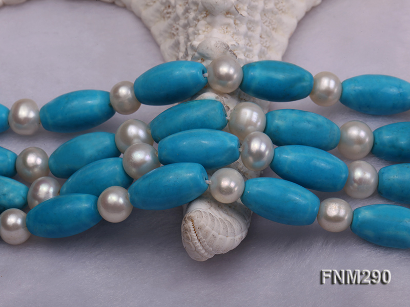 2 strand white freshwater pearl,turquoise and coral necklace big Image 6