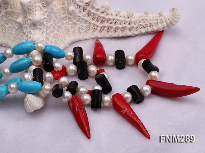 2 strand white freshwater pearl,turquoise and coral necklace big Image 7