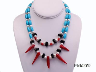 2 strand white freshwater pearl,turquoise and coral necklace FNM290 Image 1