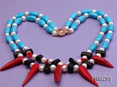 2 strand white freshwater pearl,turquoise and coral necklace FNM290 Image 3
