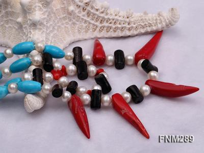 2 strand white freshwater pearl,turquoise and coral necklace FNM290 Image 7