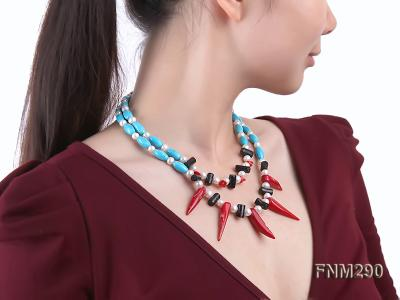 2 strand white freshwater pearl,turquoise and coral necklace FNM290 Image 8