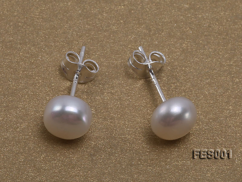 6mm White Flat Cultured Freshwater Pearl Earrings big Image 1