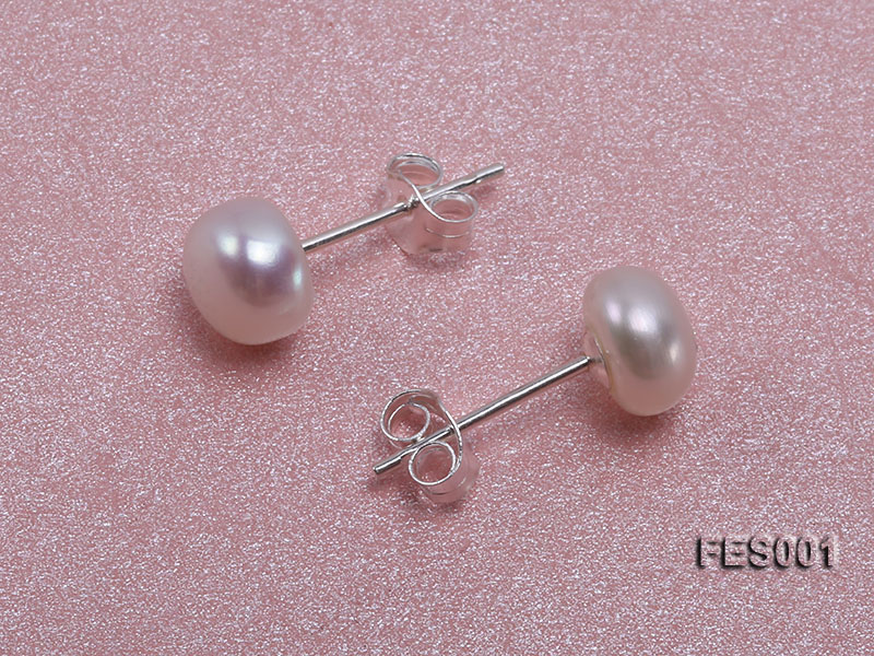 6mm White Flat Cultured Freshwater Pearl Earrings big Image 2
