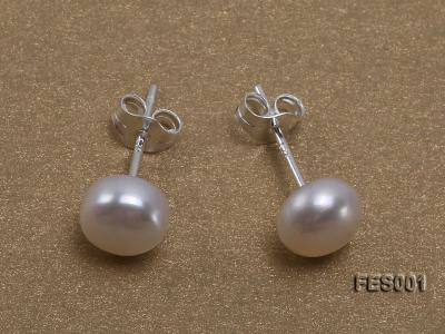 6mm White Flat Cultured Freshwater Pearl Earrings FES001 Image 1