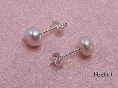 6mm White Flat Cultured Freshwater Pearl Earrings FES001 Image 2