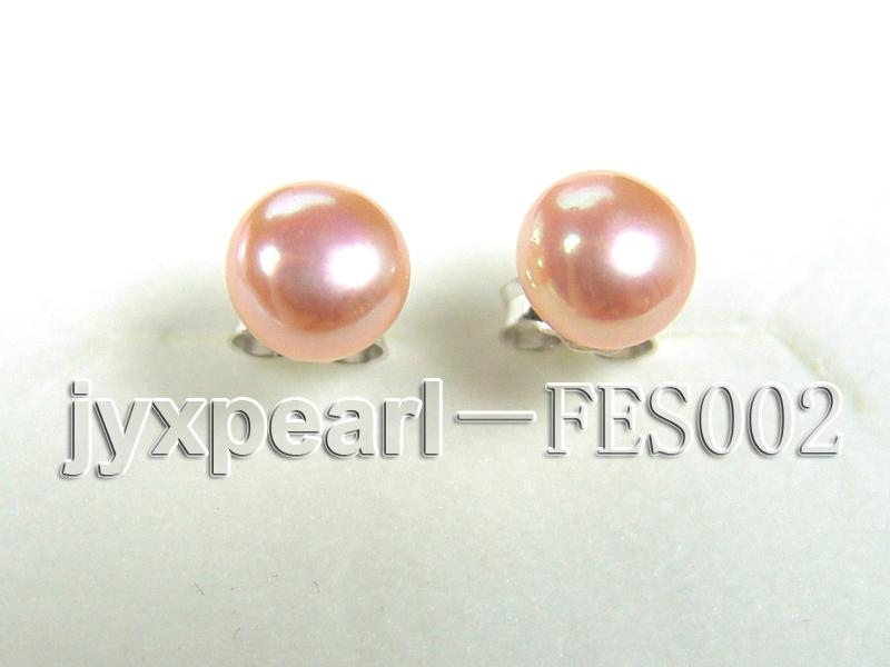 6mm Pink Flat Cultured Freshwater Pearl Earrings big Image 1