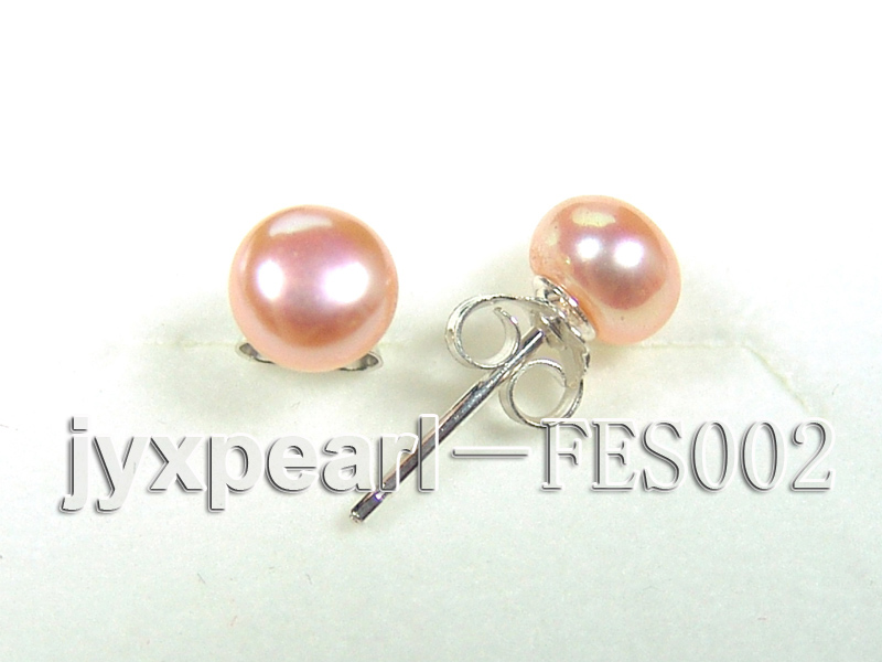 6mm Pink Flat Cultured Freshwater Pearl Earrings big Image 2
