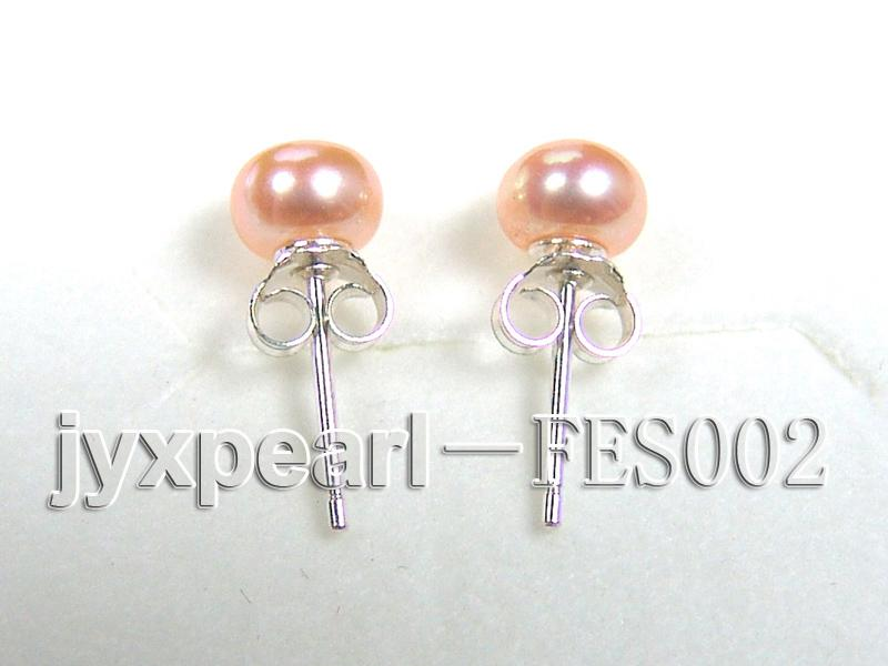 6mm Pink Flat Cultured Freshwater Pearl Earrings big Image 3