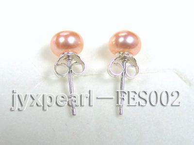 6mm Pink Flat Cultured Freshwater Pearl Earrings FES002 Image 3