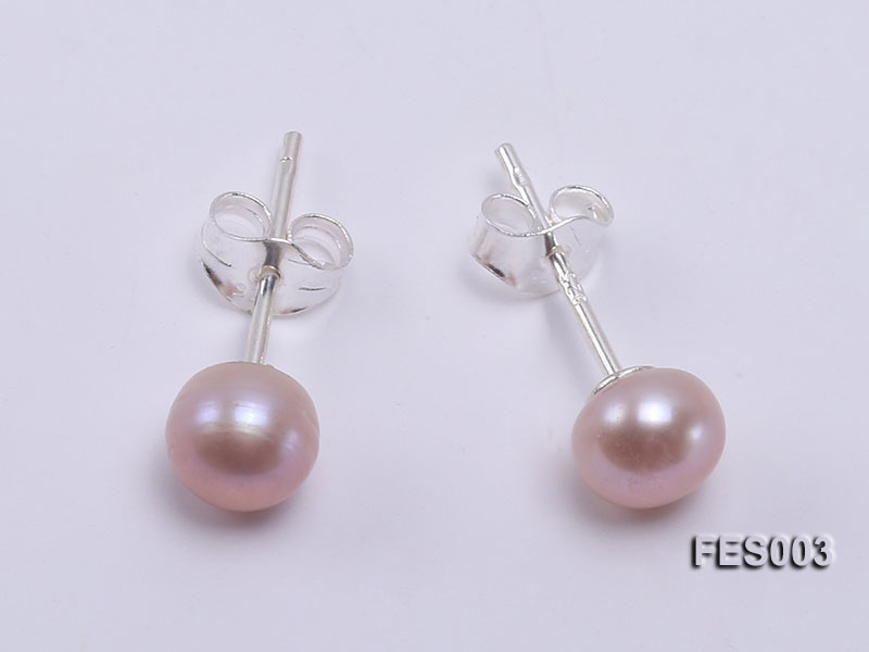 6mm Lavender Flat Cultured Freshwater Pearl Earrings big Image 1