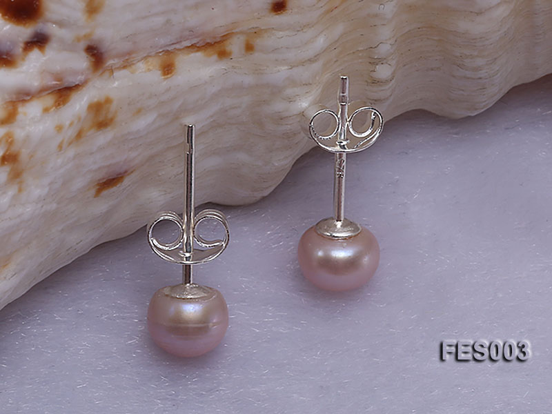 6mm Lavender Flat Cultured Freshwater Pearl Earrings big Image 2