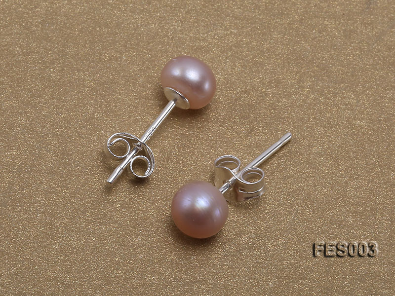 6mm Lavender Flat Cultured Freshwater Pearl Earrings big Image 3