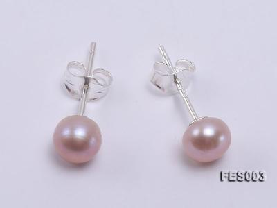 6mm Lavender Flat Cultured Freshwater Pearl Earrings FES003 Image 1