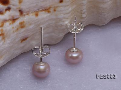 6mm Lavender Flat Cultured Freshwater Pearl Earrings FES003 Image 2