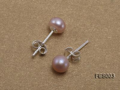 6mm Lavender Flat Cultured Freshwater Pearl Earrings FES003 Image 3