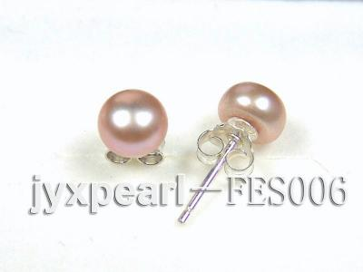 7mm Lavender Flat Cultured Freshwater Pearl Earrings FES006 Image 2
