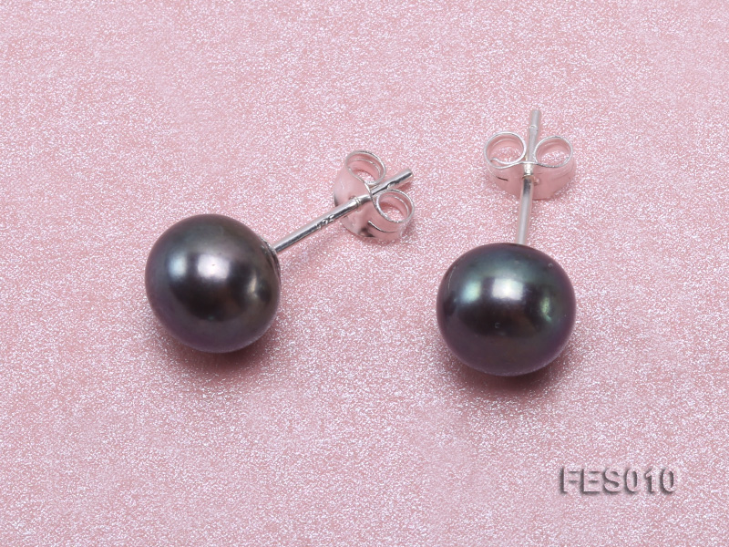 7.8mm Black Flat Cultured Freshwater Pearl Earrings big Image 4