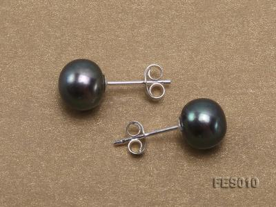 7.8mm Black Flat Cultured Freshwater Pearl Earrings FES010 Image 3