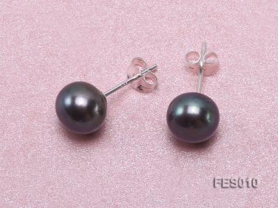 7.8mm Black Flat Cultured Freshwater Pearl Earrings FES010 Image 4