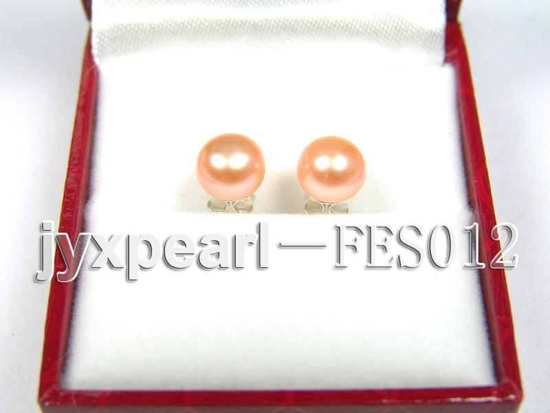 7.8mm Pink Flat Cultured Freshwater Pearl Earrings big Image 1