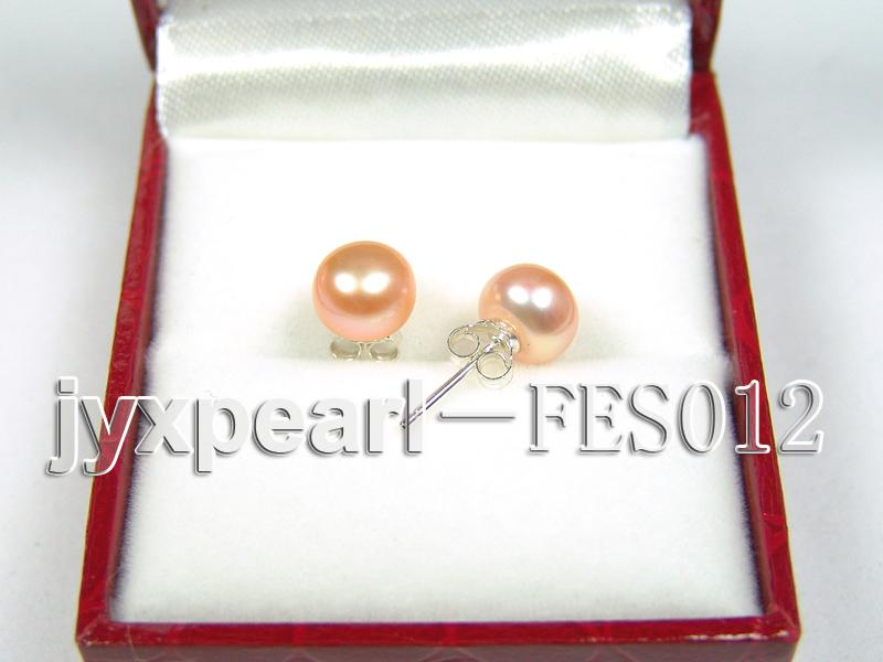 7.8mm Pink Flat Cultured Freshwater Pearl Earrings big Image 2