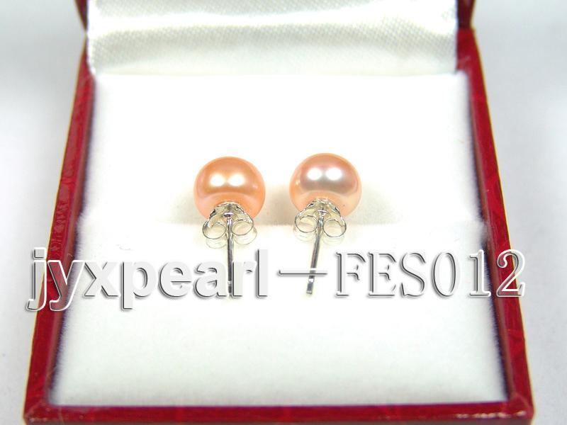 7.8mm Pink Flat Cultured Freshwater Pearl Earrings big Image 3