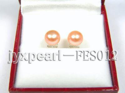 7.8mm Pink Flat Cultured Freshwater Pearl Earrings FES012 Image 1