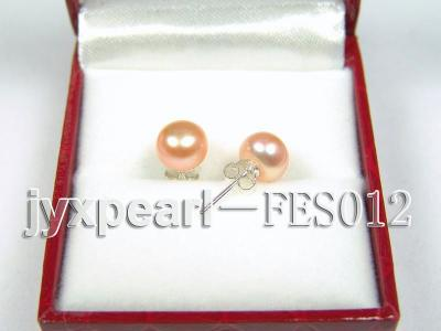 7.8mm Pink Flat Cultured Freshwater Pearl Earrings FES012 Image 2